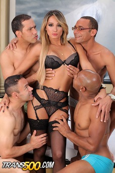 Sexy Bianca Hills takes on four horny studs in her first ever gang bang